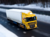 Truck on road with motion blur Royalty Free Stock Photography