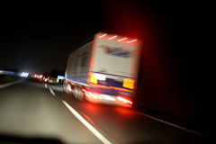 Truck on road. Truck on the night road Stock Image