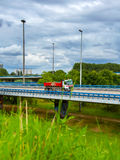 Truck on the road overpass Royalty Free Stock Photos