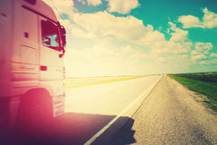 Truck Road Summer Landscape. Transportation Far Distances Stock Image