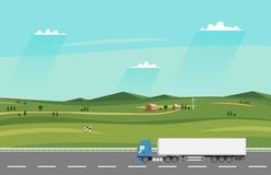 Truck on the road. Summer rural landscape with farm. Heavy trailer truck. Royalty Free Stock Image