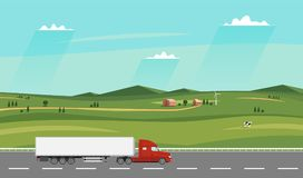 Truck on the road. Summer rural landscape with farm. Heavy trailer truck. Royalty Free Stock Photo