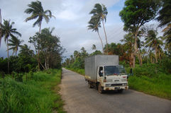 Truck at road in Tonga Royalty Free Stock Photo