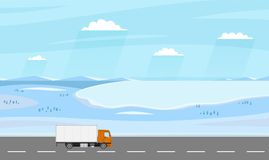 Truck on the road. Winter rural landscape with farm. Heavy trailer truck. Logistic and delivery concept. Stock Images