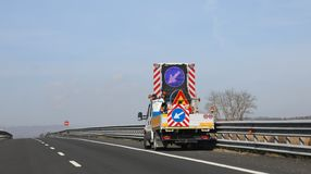 Truck and road works on the motorway. Without worker stock images