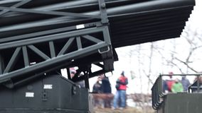 Truck Rockets Launcher. Militarry rockets launcher pad machine, mounted on a truck stock video