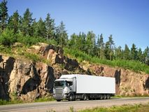 truck on rocky highway Royalty Free Stock Photography