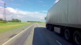Truck on the route of Altai Krai. Altai Republic, Russia - July 14, 2015: Truck on the route of the Altai Krai stock footage