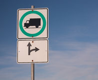 Truck Route Sign. And blue sky Stock Photography