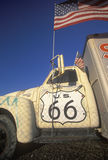 A truck with a route 66 sign painted on the door Stock Photos