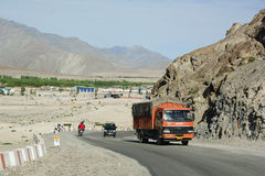 The truck running on Leh-Manali road in Ladakh, India Royalty Free Stock Image