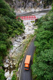 A truck running on mountain road in Hualien, Taiwan Stock Photos