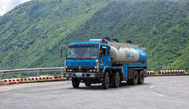 A truck running on mountain road in Yen Bai, Vietnam Royalty Free Stock Photography
