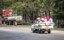 A truck running on street in Innwa, Myanmar Royalty Free Stock Image