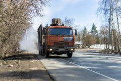 Truck in Russia with an increased emission of harmful exhaust gases.  Stock Photography