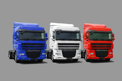Truck's fleet. Isolated on grey royalty free stock image
