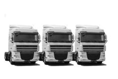 Truck's fleet. White truck's fleet isolated on white stock photo