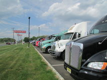 Truck sale parking lot. Parking lot full of trucks for sale Stock Photography