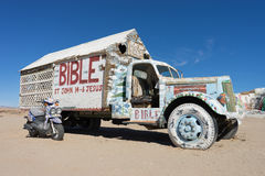 Truck at salvation mountain by slab city Royalty Free Stock Photos