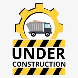 Truck with sand under construction sign Royalty Free Stock Photo