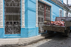 Truck with sausages in Camagüey, Cuba Royalty Free Stock Photos