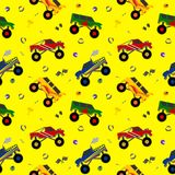 Truck seamless pattern cartoon style for decoration. Scrapbooking, printing on fabric, banner, greeting card, sale, gift wrap, promotion, party poster. cute Stock Photography