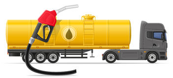 Truck semi trailer delivery and transportation of fuel for trans Stock Images