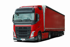 Truck with semi trailer. Large truck with semi trailer on a white background Royalty Free Stock Photo