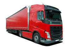 Truck with semi trailer. Large truck with semi trailer on a white background royalty free illustration