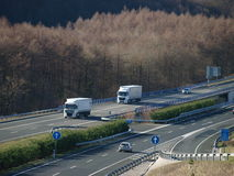 TRUCK SEMI TRAILER ON MOTORWAY Stock Photos
