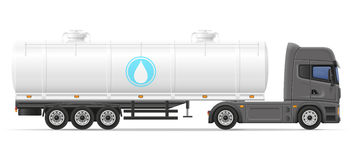 Truck semi trailer with tank for transporting liquids vector ill Stock Image