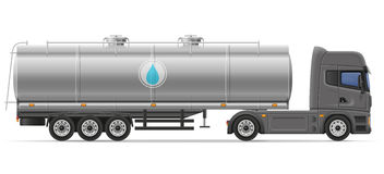Truck semi trailer with tank for transporting liquids vector ill Stock Photo