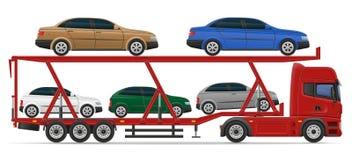 Truck semi trailer for transportation of car concept vector illu Stock Images