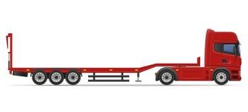 Truck semi trailer for transportation of car vector illustration. On white background royalty free illustration