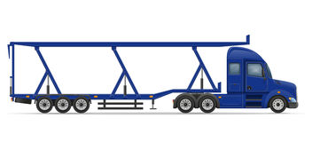 Truck semi trailer for transportation of car vector illustration Royalty Free Stock Images