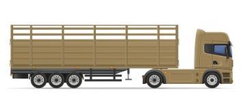 Truck semi trailer for transportation of goods vector illustrati Royalty Free Stock Images