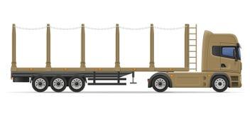 Truck semi trailer for transportation of goods vector illustrati Royalty Free Stock Image