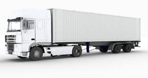 Truck with semi-trailer on white background Stock Image