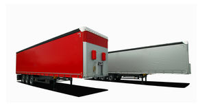 Truck semi trailers. Red and gray truck semi trailers on a white background Stock Photos