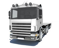 Truck with semitrailer platform. Isolated render on a white background Royalty Free Stock Photo