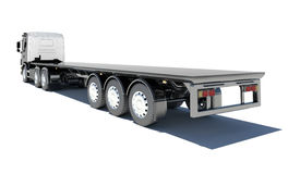 Truck with semitrailer platform. Rear view. Isolated render on a white background Royalty Free Stock Photo