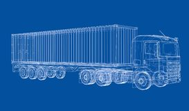 Truck with semitrailer. Vector. Rendering of 3d. Wire-frame style. The layers of visible and invisible lines are separated Stock Images