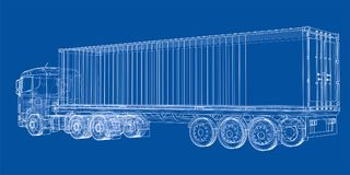 Truck with semitrailer. Vector. Rendering of 3d. Wire-frame style. The layers of visible and invisible lines are separated Royalty Free Stock Photo