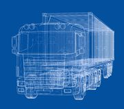 Truck with semitrailer. Vector. Rendering of 3d. Wire-frame style. The layers of visible and invisible lines are separated Royalty Free Stock Photos