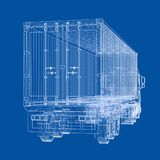 Truck with semitrailer. Vector. Rendering of 3d. Wire-frame style. The layers of visible and invisible lines are separated Royalty Free Stock Photography