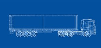 Truck with semitrailer. Vector. Rendering of 3d. Wire-frame style. The layers of visible and invisible lines are separated Stock Image