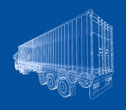 Truck with semitrailer. Vector. Rendering of 3d. Wire-frame style. The layers of visible and invisible lines are separated Stock Photos