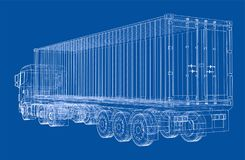 Truck with semitrailer. Vector. Rendering of 3d. Wire-frame style. The layers of visible and invisible lines are separated Stock Photo