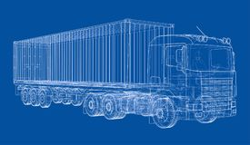Truck with semitrailer. Vector. Rendering of 3d. Wire-frame style. The layers of visible and invisible lines are separated Royalty Free Stock Image