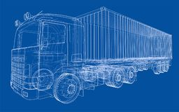 Truck with semitrailer. Vector. Rendering of 3d. Wire-frame style. The layers of visible and invisible lines are separated Stock Photography